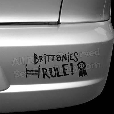 Brittanies Rule Dog Sports Car Stickers