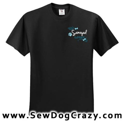 Pretty Embroidered Samoyed TShirt