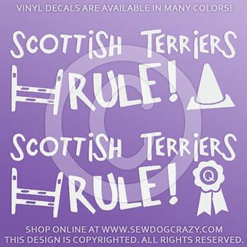 Vinyl Scottish Terriers Rule Stickers