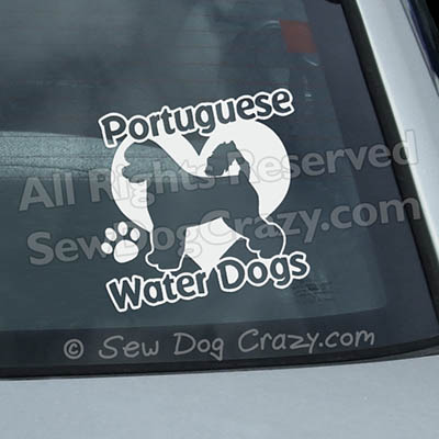 Love Portuguese Water Dogs Car Window Stickers