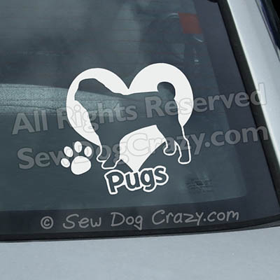 Love Pugs Car Window Sticker