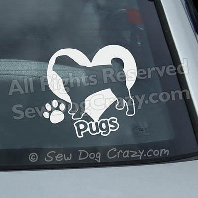 Love Pugs Car Window Sticker