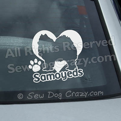 Love Samoyeds Car Window Sticker
