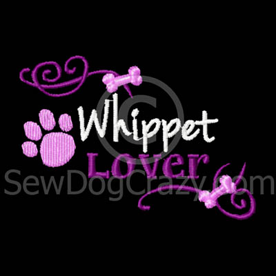 Pretty Embroidered Whippet TShirt