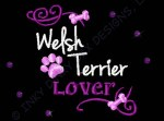 Rhinestones Welsh Terrier Embroidered Apparel