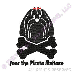 Unique Pirate Maltese Embroidery
