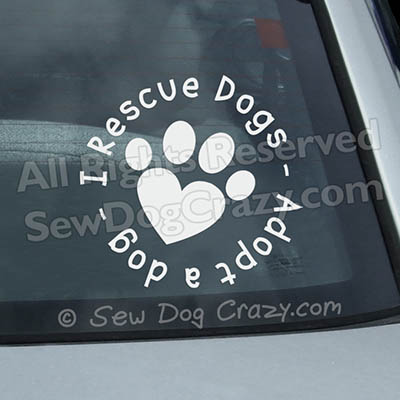 I Rescue Dogs Car Window Sticker
