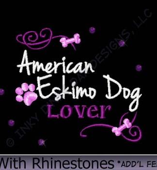 American Eskimo Dog Rhinestones Embroidery