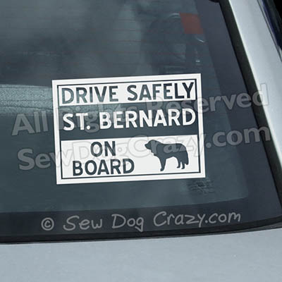 St Bernard On Board Window Stickers