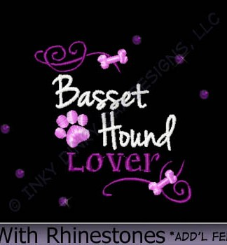 Rhinestones Basset Hound Embroidery