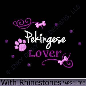 Rhinestones Pekingese Embroidery