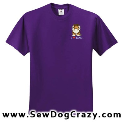 Embroidered Cartoon Rough Collie Tshirts