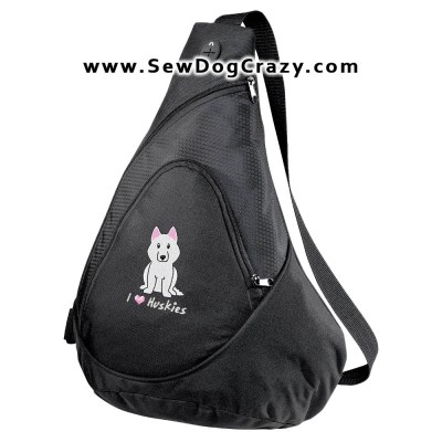 Embroidered Cartoon Siberian Husky Bags