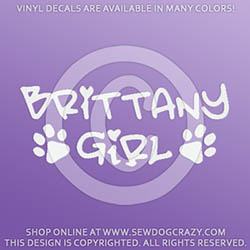 Brittany Girl Dog Lover Car Decals