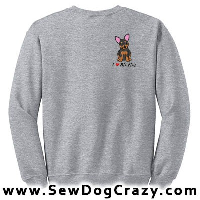 Embroidered Min Pin Sweatshirts