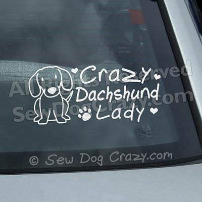 Crazy Dachshund Lady Window Sticker