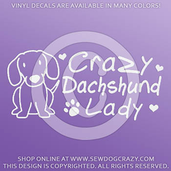 Crazy Dachshund Lady Decals