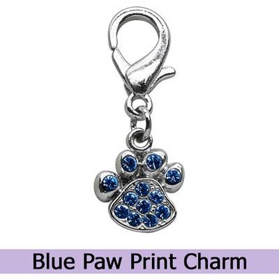 Blue Paw Print Dog Charm