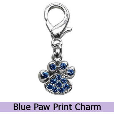Blue Paw Print Dog Charm