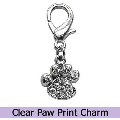 Crystal Paw Print Dog Charm