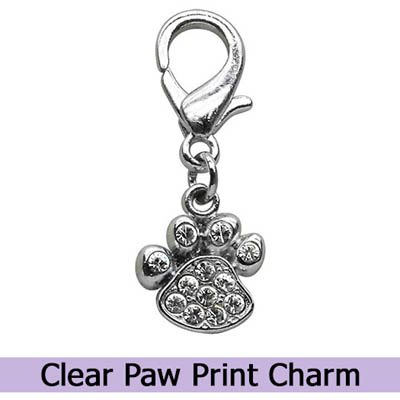 Crystal Paw Print Dog Charm