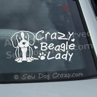 Crazy Beagle Lady Car Decal