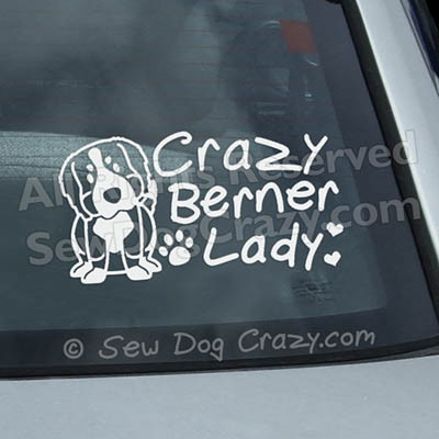 Crazy Bernese Mountain Dog Lady Decals