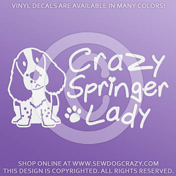 Crazy Springer Spaniel Lady Vinyl Decals