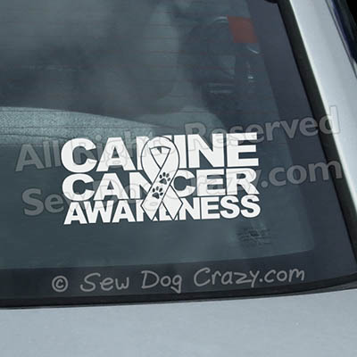 Canine Cancer Ribbon Car Window Sticker