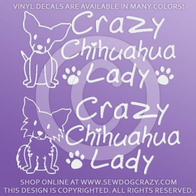 Crazy Chihuahua Lady Car Window Stickers