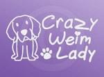 Crazy Weimaraner Lady Car Sticker
