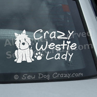 Crazy Westie Lady Window Stickers