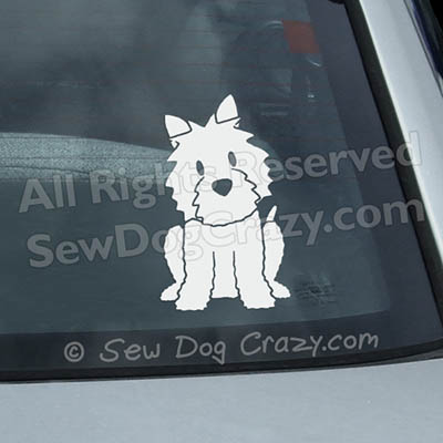Cartoon Westie Car Decals