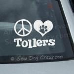 Peace Love Tollers Car Window Sticker