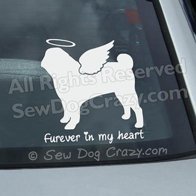 Angel Pug Car Window Sticker