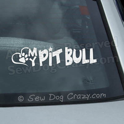 Love My Pit Bull Car Window Sticker