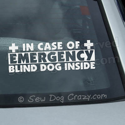 In Case of Emergency Blind Dog Sticker