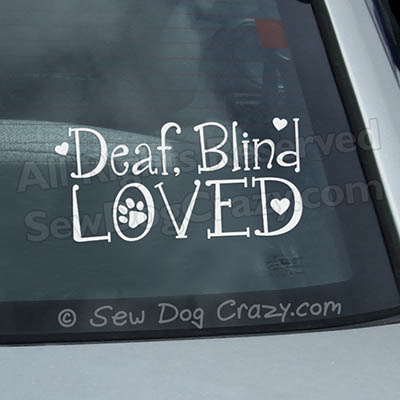Deaf Blind Dog Car Decals