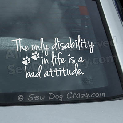 Disabled Dog Car Window Stickers