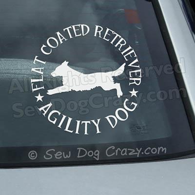 Flat Coated Retriever Agility Car Window Sticker