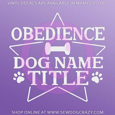 Dog Obedience Title Car Sticker