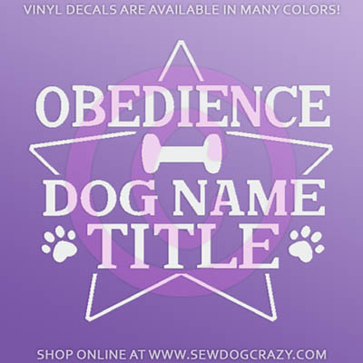 Dog Obedience Title Car Sticker