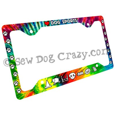 Tie Dye Dog Sports License Plate Frame