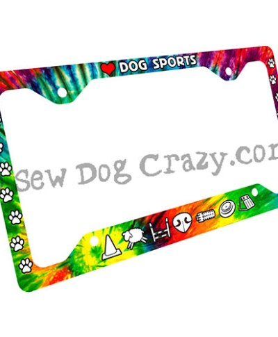 Tie Dye Dog Sports License Plate Frame