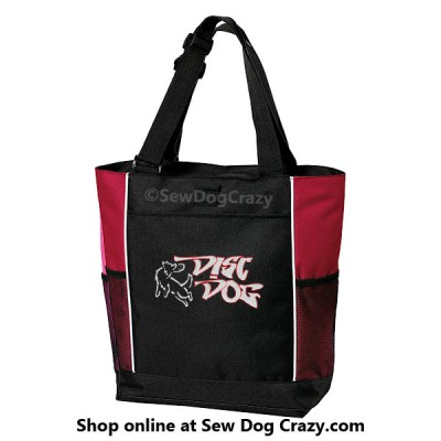 Embroidered Disc Dog Tote Bags