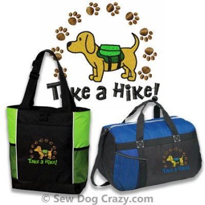 Take a Hike Dog Embroidered Bags
