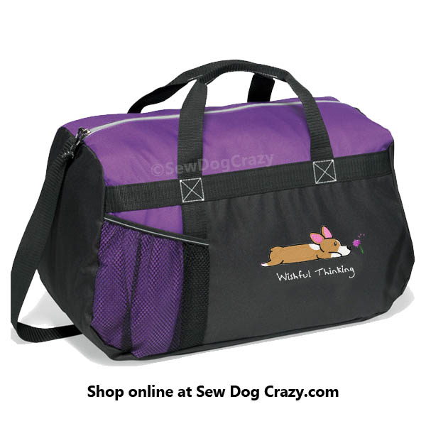 Embroidered Corgi Duffel