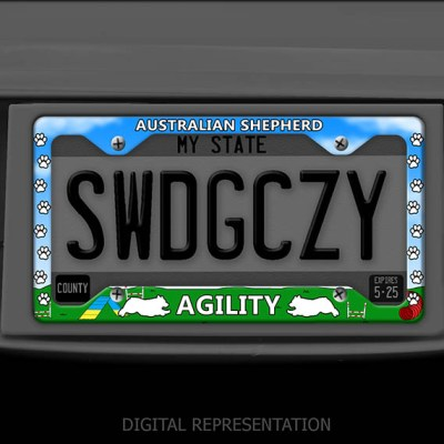 Aussie Agility License Plate Frame