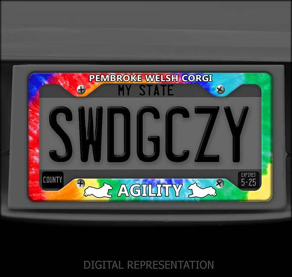 Tie Dye Corgi Agility License Plate Frame