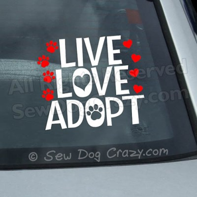 Live Love Adopt Car Window sticker